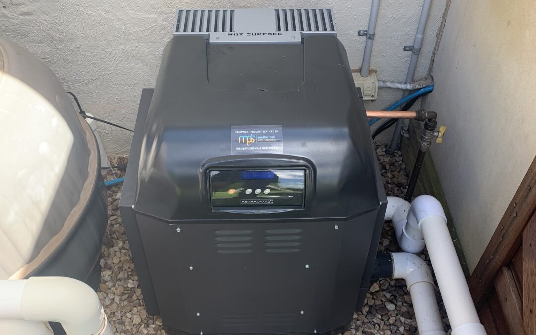 AstralPool ICI400 gas pool heater installation on the Mornington Peninsula, replacing an old AstralPool Viron450 which had explosive ignition.